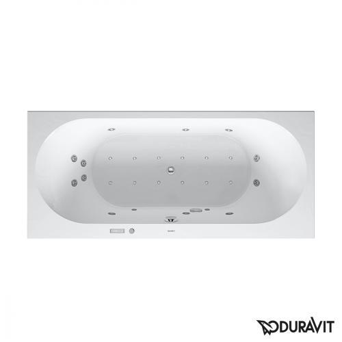 Duravit Darling New Rechteck-Whirlwanne mit LED-Beleuchtung, Einbauversion oder Verkleidung, mit 2 Rückenschrägen mit Combi-System E