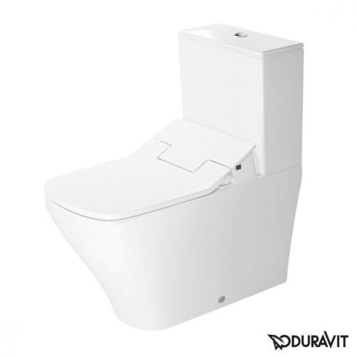 Duravit DuraStyle Stand-Tiefspül-WC Kombination mit SensoWash® Slim WC-Sitz, Set weiß, Spülkasten mit Anschluss unten links