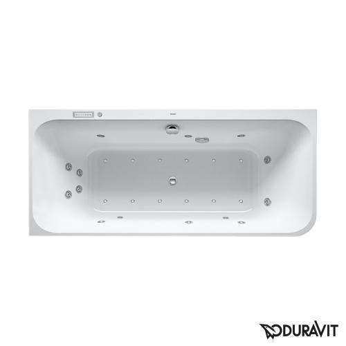 Duravit Happy D.2 Eck-Whirlwanne mit LED-Beleuchtung, mit Verkleidung, Eckeinbau links mit Combi-System E