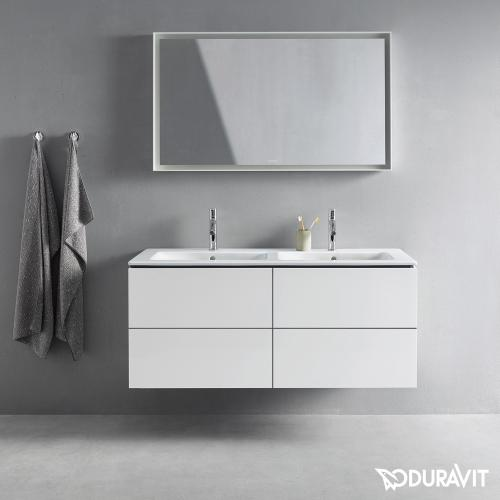 Duravit ME by Starck Möbel-Doppelwaschtisch weiß, mit 2 Hahnlöchern