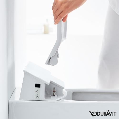 Duravit ME by Starck Wand-Tiefspül-WC Rimless mit SensoWash® Slim WC-Sitz, Set weiß mit WonderGliss