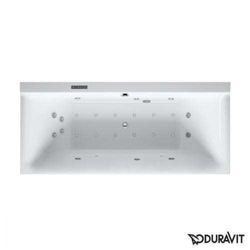 Duravit P3 Comforts Rechteck-Whirlwanne mit LED-Beleuchtung, Einbauversion oder Wannenverkleidung, mit 2 Rückenschrägen mit Combi-System L