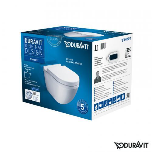 Duravit Starck 3 Wand-Tiefspül-WC rimless Set mit SoftClose WC-Sitz und verdeckter Befestigung