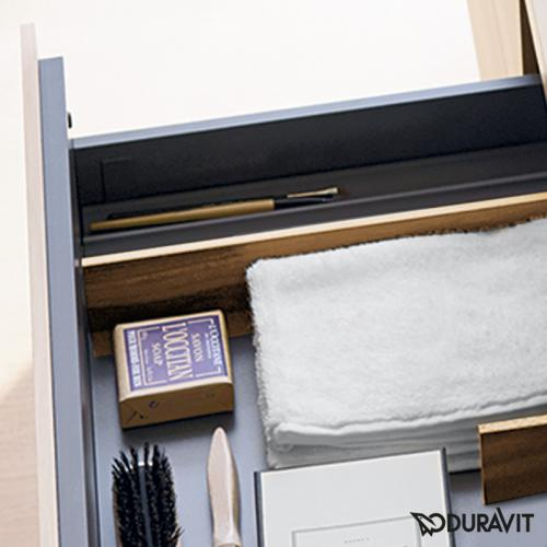 Duravit Vero Air Waschtisch mit L-Cube Waschtischunterschrank mit 2 Auszügen mediterrane eiche, mit Einrichtungssystem Ahorn, mit 1 Hahnloch
