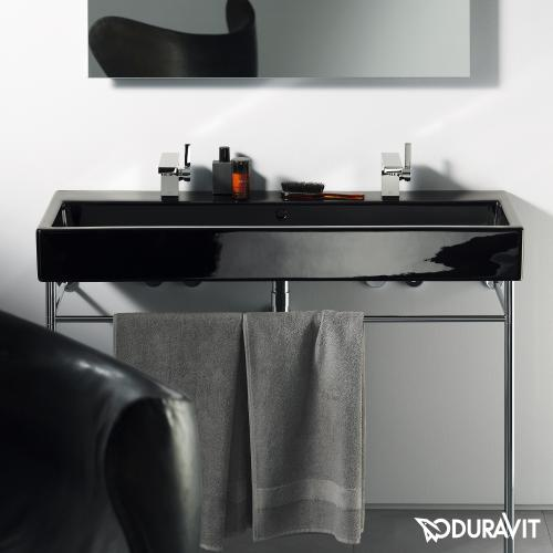 duravit vero waschtisch schwarz mit 2 hahnl chern ungeschliffen mit berlauf 0454100824. Black Bedroom Furniture Sets. Home Design Ideas