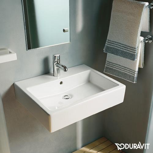 duravit vero waschtisch wei mit 1 hahnloch ungeschliffen mit berlauf 0454600000 reuter. Black Bedroom Furniture Sets. Home Design Ideas