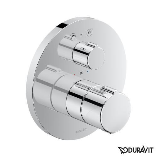 Duravit Wannenthermostat Unterputz mit runder Rosette, mit Ab-/Umstellventil und Sicherungskombination