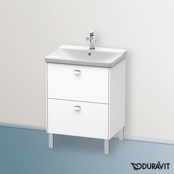 Duravit Brioso Waschtischunterschrank mit 2 Auszügen Front weiß matt/Korpus weiß matt, Griff chrom