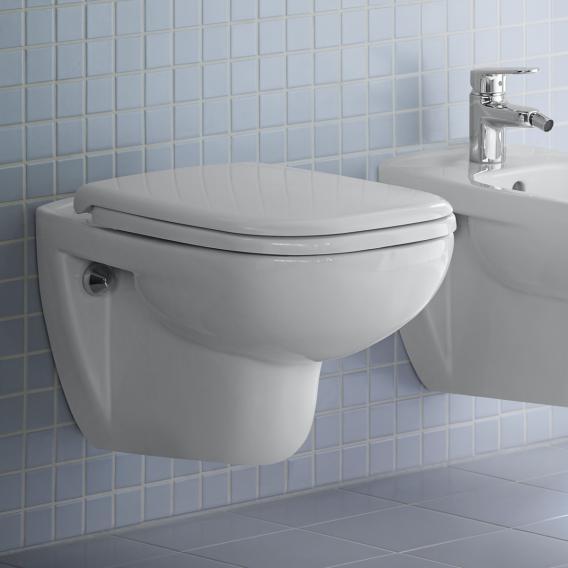 Duravit D-Code Wand-Tiefspül-WC Set, mit WC-Sitz ohne Spülrand, weiß, mit HygieneGlaze