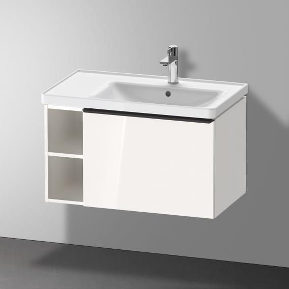 Duravit D-Neo Waschtisch mit Waschtischunterschrank mit 1 Auszug und 1 Regalelement Front weiß hochglanz / Korpus weiß hochglanz, WT weiß, mit WonderGliss, mit 1 Hahnloch