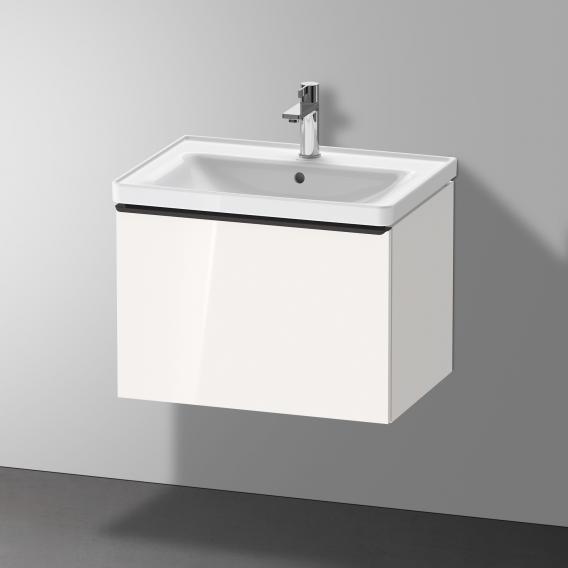 Duravit D-Neo Waschtisch mit Waschtischunterschrank mit 1 Auszug Front weiß hochglanz / Korpus weiß hochglanz, WT weiß, mit WonderGliss, mit 1 Hahnloch