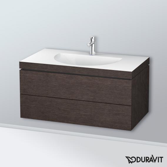 Duravit Darling New Waschtisch mit L-Cube Waschtischunterschrank mit 2 Auszügen Front eiche dunkel gebürstet / Korpus eiche dunkel gebürstet, ohne Einrichtungssystem, mit 1 Hahnloch