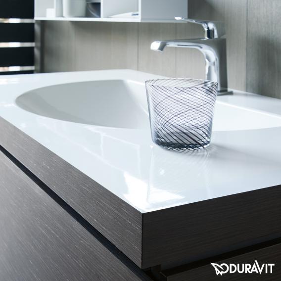 Duravit Darling New Waschtisch mit L-Cube Waschtischunterschrank mit 1 Auszug flannel grey seidenmatt, ohne Einrichtungssystem, ohne Hahnloch