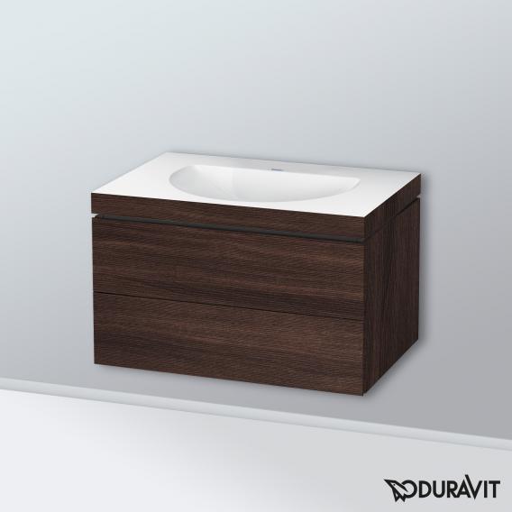 Duravit Darling New Waschtisch mit L-Cube Waschtischunterschrank mit 2 Auszügen kastanie dunkel, ohne Einrichtungssystem, ohne Hahnloch