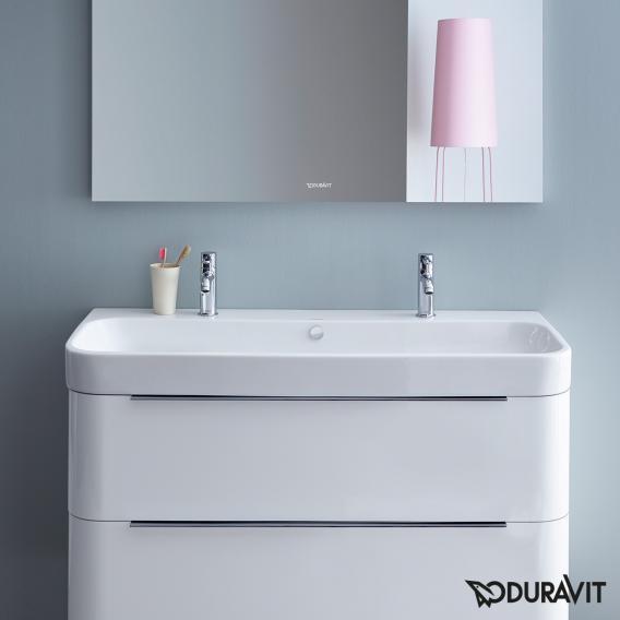 Duravit Happy D.2 Doppel-Möbelwaschtisch weiß, mit WonderGliss, ungeschliffen