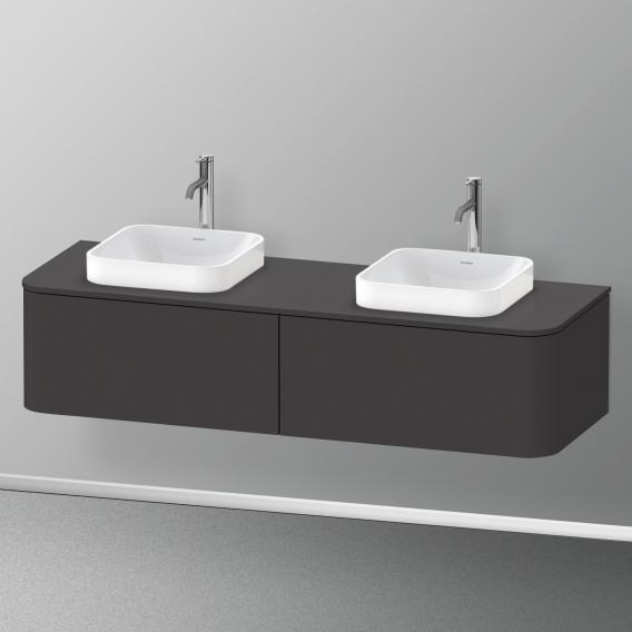 Duravit Happy D.2 Plus Waschtischunterschrank für Konsole mit 2 Auszügen Front graphit supermatt / Korpus graphit supermatt, ohne Einrichtungssystem