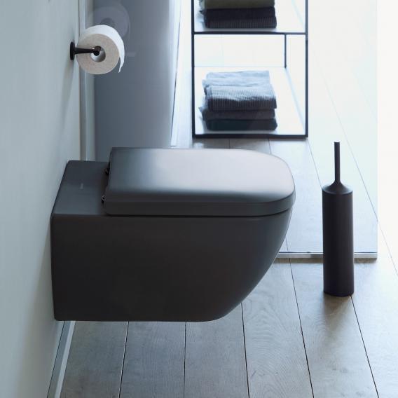 Duravit Happy D.2 Wand-Tiefspül-WC mit WC-Sitz, ohne Spülrand anthrazit