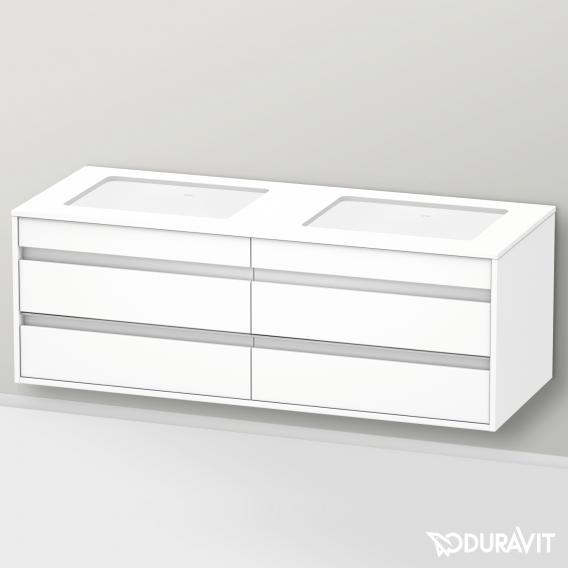 Duravit Ketho Waschtischunterschrank mit 4 Auszügen für 2 Unterbauwaschtische Front weiß matt / Korpus weiß matt