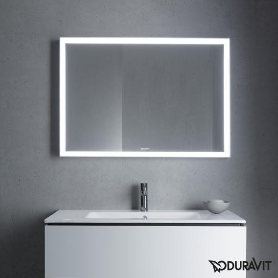 Duravit L-Cube Spiegel mit LED-Beleuchtung weiß aluminium