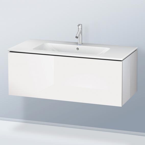Duravit L-Cube Waschtischunterschrank mit 1 Auszug Front weiß hochglanz / Korpus weiß hochglanz, mit Einrichtungssystem Nussbaum