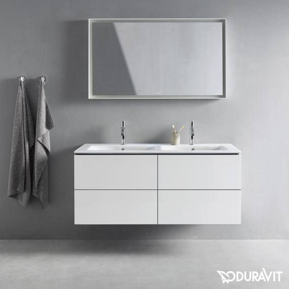 Duravit ME by Starck Möbel-Doppelwaschtisch weiß, mit WonderGliss, mit 2 Hahnlöchern