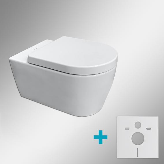 Duravit ME by Starck Wand-WC & Tellkamp Premium 4000 WC-Sitz SET: WC ohne Spülrand, mit Zubehör weiß, mit HygieneGlaze