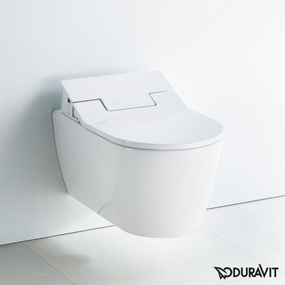 Duravit ME by Starck Wand-Tiefspül-WC mit NEUEM SensoWash® Slim WC-Sitz, Set ohne Spülrand, weiß mit WonderGliss