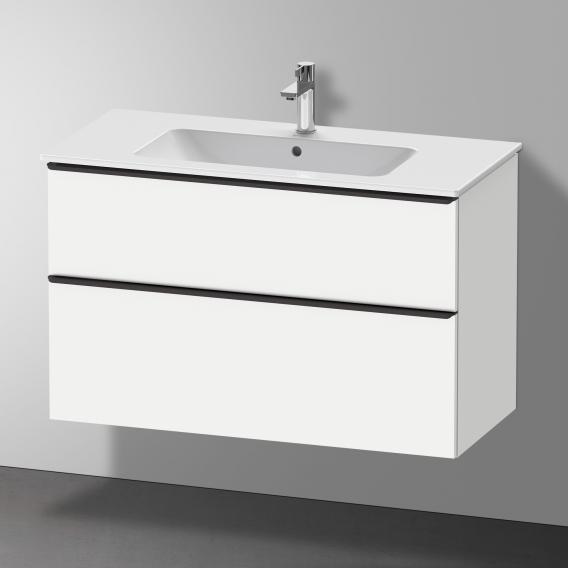 Duravit Me by Starck Waschtisch mit D-Neo Waschtischunterschrank mit 2 Auszügen Front weiß matt / Korpus weiß matt, WT weiß, mit 1 Hahnloch