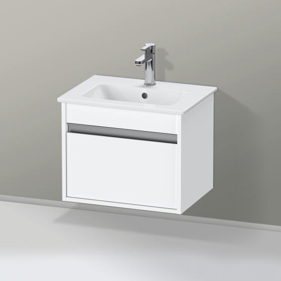 Duravit ME by Starck Waschtisch mit Ketho Waschtischunterschrank Compact mit 1 Auszug Front weiß matt / Korpus weiß matt, weiß