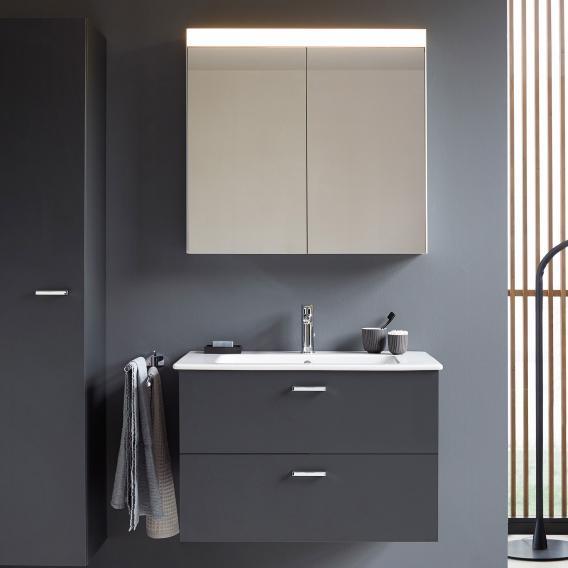 Duravit ME by Starck Waschtisch mit XBase Waschtischunterschrank und LED-Spiegelschrank Front graphit matt / Korpus graphit matt
