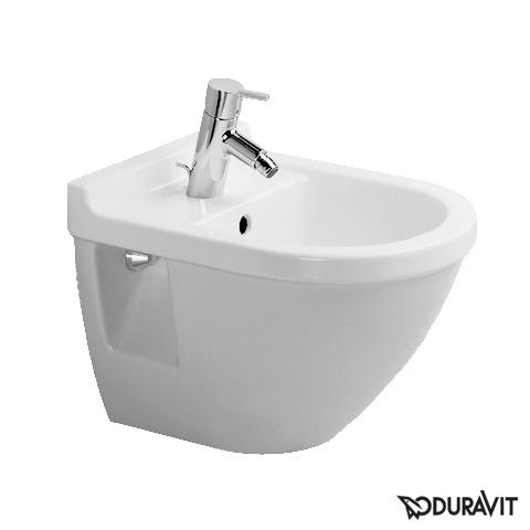 Duravit Starck 3 Wand-Bidet Compact weiß mit 1 Hahnloch mit Überlauf