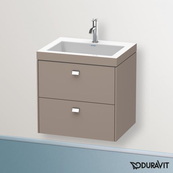 Duravit Vero Air Waschtisch mit Brioso Waschtischunterschrank mit 2 Auszügen Front basalt matt/Korpus basalt matt, Griff chrom