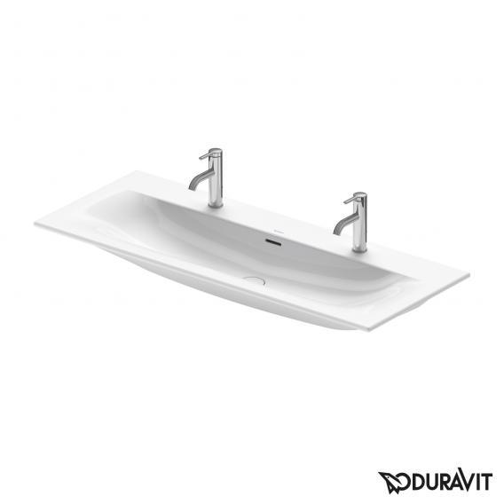 Duravit Viu Doppel-Möbelwaschtisch weiß, mit WonderGliss, mit 2 Hahnlöchern