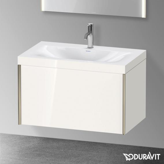 Duravit XViu Waschtisch mit Waschtischunterschrank mit 1 Auszug weiß matt, Kante champagner matt, ohne Einrichtungssystem