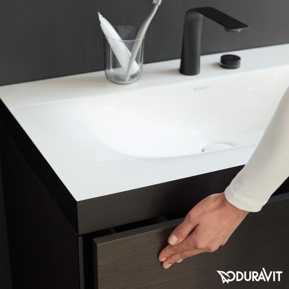 Duravit XViu Waschtisch mit Waschtischunterschrank mit 2 Auszügen eiche gebürstet, Kante champagner matt, ohne Einrichtungssystem