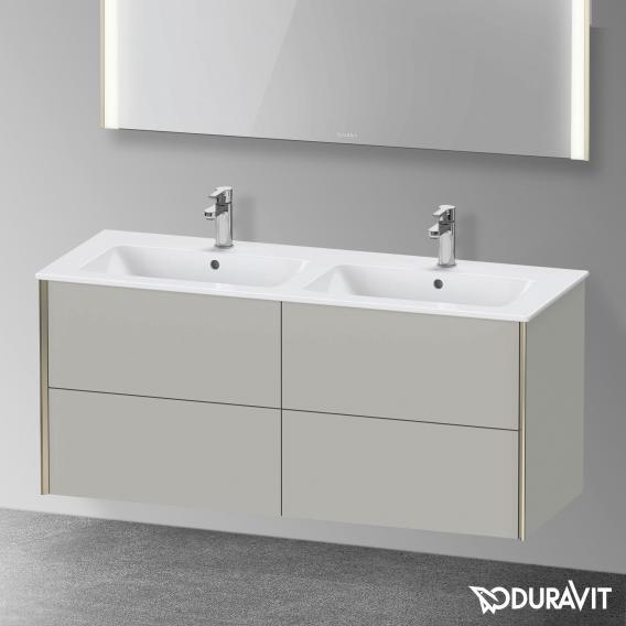 Duravit XViu Waschtischunterschrank mit 4 Auszügen betongrau matt, Kante champagner matt, ohne Einrichtungssystem