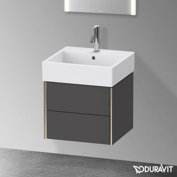 Duravit XViu Waschtischunterschrank mit 2 Auszügen graphit matt, Kante champagner matt, ohne Einrichtungssystem