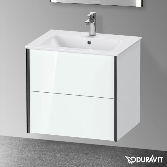 Duravit XViu Waschtischunterschrank mit 2 Auszügen weiß hochglanz, Kante schwarz matt, mit Einrichtungssystem Nussbaum