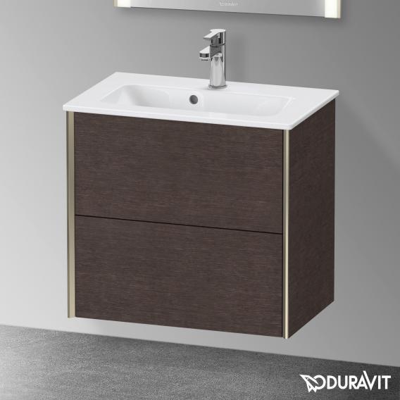 Duravit XViu Waschtischunterschrank Compact mit 2 Auszügen eiche dunkel gebürstet, Kante champagner matt, ohne Einrichtungssystem