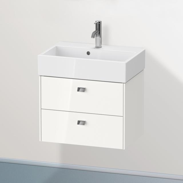 Duravit Brioso Waschtischunterschrank Compact mit 2 Auszügen Front weiß hochglanz / Korpus weiß hochglanz, Griff chrom