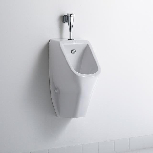 Duravit D-Code Urinal, rimless weiß mit HygieneGlaze, Zulauf oben, mit Zielobjekt