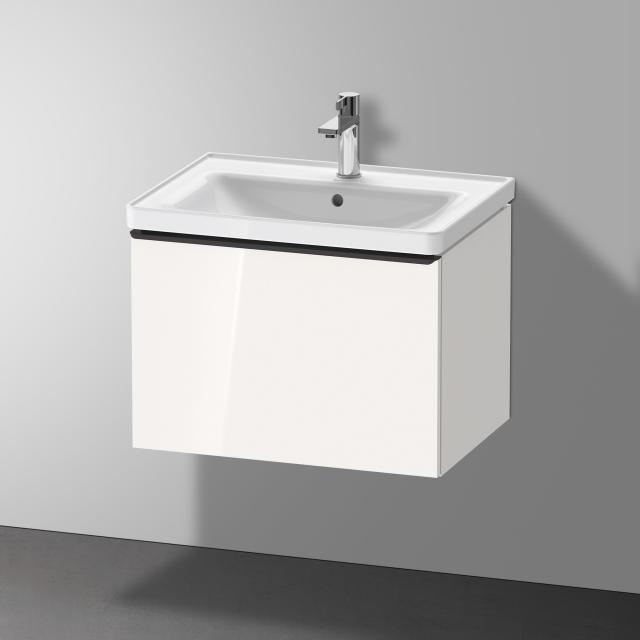 Duravit D-Neo Waschtisch mit Waschtischunterschrank mit 1 Auszug Front weiß hochglanz / Korpus weiß hochglanz, WT weiß, mit 1 Hahnloch