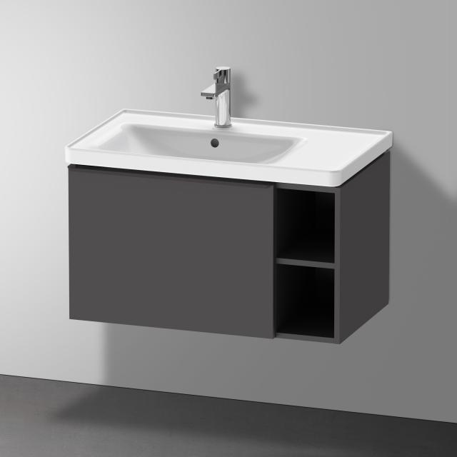 Duravit D-Neo Waschtischunterschrank mit 1 Auszug und 1 Regalelement Front graphit matt / Korpus graphit matt
