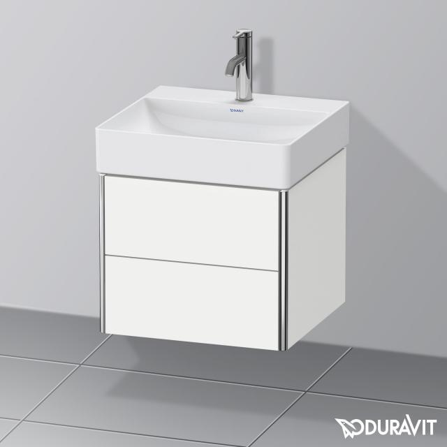Duravit DuraSquare Waschtisch mit XSquare Waschtischunterschrank mit 2 Auszügen weiß, mit WonderGliss, mit 1 Hahnloch