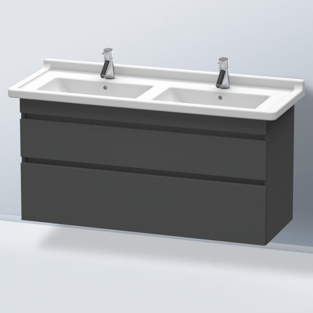 Duravit DuraStyle Waschtischunterschrank für Doppelwaschtisch mit 2 Auszügen Front graphit matt / Korpus graphit matt