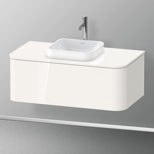 Duravit Happy D.2 Plus LED-Waschtischunterschrank für Konsole mit 1 Auszug Front weiß hochglanz / Korpus weiß hochglanz, mit Einrichtungssystem Nussbaum