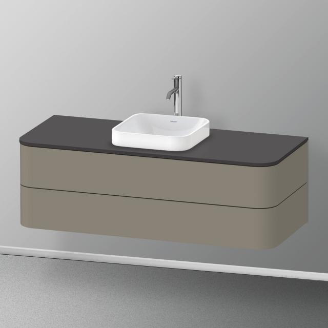 Duravit Happy D.2 Plus LED-Waschtischunterschrank für Konsole mit 2 Auszügen Front steingrau seidenmatt / Korpus steingrau seidenmatt, mit Einrichtungssystem Nussbaum