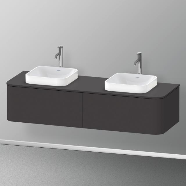 Duravit Happy D.2 Plus LED-Waschtischunterschrank für Konsole mit 2 Auszügen Front graphit supermatt / Korpus graphit supermatt, ohne Einrichtungssystem