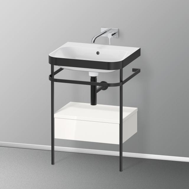 Duravit Happy D.2 Plus Waschtisch mit Metallkonsole und Unterschrank mit 1 Auszug ohne Hahnloch, Front weiß hochglanz/schwarz matt/Korpus weiß hochglanz/schwarz matt, ohne Einrichtungssystem
