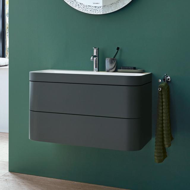 Duravit Happy D.2 Plus Waschtisch mit Waschtischunterschrank mit 2 Auszügen mit 1 Hahnloch, Front graphit supermatt/Korpus graphit supermatt, mit Einrichtungssystem nussbaum